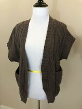 Women's BANANA REPUBLI Brown Chunky Knit Button Front Vest Side Pockets - XS