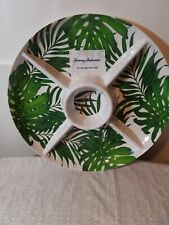 "NEW Tommy Bahama Melamine Green Palm Leaf Chip Dip Platter 15"" Diameter"