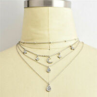 Women Boho Multilayer Choker Pendant Necklace Crystal Star Moon Chain Jewelry S5
