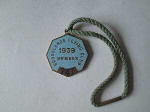 Brooklands flying club members badge 1939 Brooklands motor course.Brooklands.