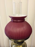 "Vintage Red Stripe & White (Inside) Glass Lamp Shade, 6 3/4"" Fitter, 5 1/4"" High"