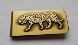 Money Clip-SOLID BRASS- INGA- WILD ANIMAL, TIGER design