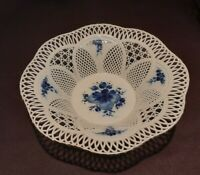 CLUG Romania White Porcelain Reticulated Weave SUMI BasketBowlHandpaint&signed