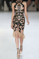 ALEXANDER MCQUEEN Laser-cut patent-leather and lace dress 40 - 4