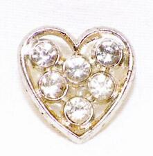 Heart Silvertone Metal & Rhinestone Button Small Vintage Self Shank #9