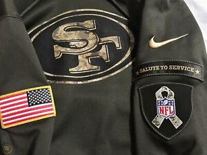 100% Nike 2015 San Francisco 49ers Salute To Service Hoodie Sweatshirt Therma
