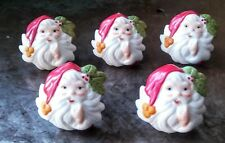 5 VINTAGE SANTA CLAUSE HEAD CHRISTMAS PORCELAIN BISQUE NAPKIN RINGS HOLDERS