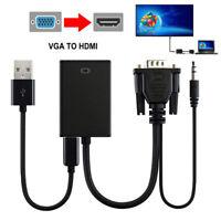 Adattatore da 1Pc VGA maschio a HDMI HD + audio TV AV Adattatore per cavo CRIT