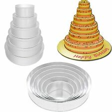 "SET OF 6-PIECE ROUND SHAPE CAKE BAKING PANS BY EURO TINS 6""-16"" (3"" DEEP)"