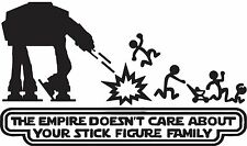 SW Star Wars Stick Family AT Empire Doesn't Care Vinyl Car Decal 20cmx12cm