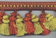 "Tassel Trim~4"" Dual Tassel~Shades of Reds & Antique Gold~11 YARDS in 2 pieces"