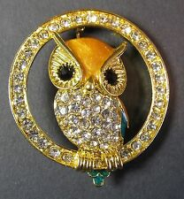 Owl Brooch In Circle with White Diamante's Gold base - Fashion Jewellery