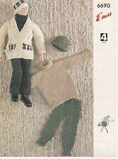 Vintage reto photo copy Knitting Pattern  EMU 6690 ACTION MAN CLOTHES