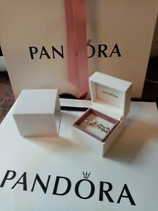 Pandora earrings studs   NEW   with authentic Pandora  box and bag   925 silver