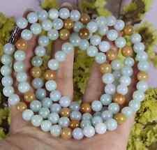 Jade Jadeite 7.5 mm Bead Necklace 06015a5 820 mm Cert'd Green 100% Natural A