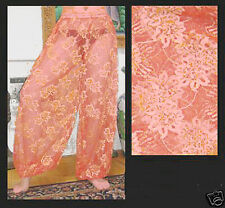 Harem Pants Belly Dance Lace Salmon Pink w/ Gold in a Floral Pattern
