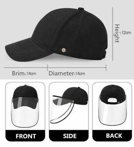 Full Face Shield Protective Hat Detachable Adjustable Baseball Cap Unisex  Black