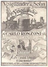 PUBBLICITA' 1924 SATRAP LASTRE FOTO RONZONI CARLO MILANO VOIGTLANDER & SHON