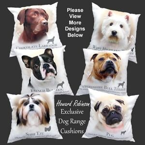 Dog picture of dog on Cushion complete with filling genuine HR  over 40 designs