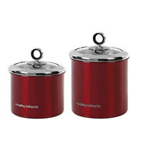 Morphy Richards Accents Large or Small Storage Canister with Glass Lid - Red