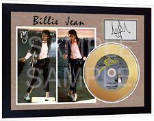 Michael Jackson Billie Jean Mini Gold Vinyl CD Record Signed Framed Photo Print