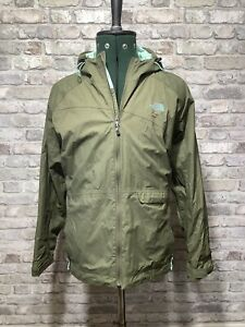 The North Face Ladies Khaki Green Hyvent Rain Coat Waterproof Jacket XL