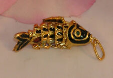 Vintage Cloisonne Enamel Articulated Fish Pendant Black and Gold Tone Koi lot #3