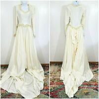 True Vintage 1940s Lace Trim Wedding Dress Size S Sweetheart Bustle Long Train