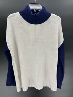 Devotion by Cyrus Blue Ivory Colorblock Knit Mock Neck Sweater Womens Small NWT