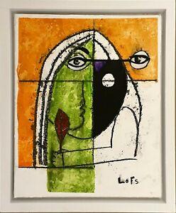 "Al Lofsness - Oil Charcoal - ""Modern Woman"" - 11 x 14 inches - Portrait w/ frame"
