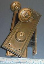 Antique Masonic Cast Bronze Door Knob Entrance Set Cylinder Entrance set