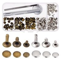 Rivets Single Cap Rivet Tubular Metal Studs with Fixing Tool Kit for Leather FP
