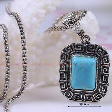 new Christmas!Tibet silver inlaid natural turquoise men necklace pendant