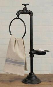 Bathroom Towel Ring Soap Dish RUSTIC INDUSTRIAL Faucet Spigot Pedestal Stand New