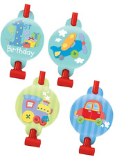 Amscan 8 Pack 1st BIRTHDAY BOY Cute Safety Blow Outs Blowout Party Bag Filler