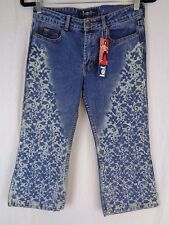 LEI Girls Jeans NEW With Tags Flood Flare Cropped Floral Pattern Size 14 NWT