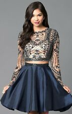 Sherri Hill size 4 navy 2 piece homecoming prom formal dress long sleeve 50693
