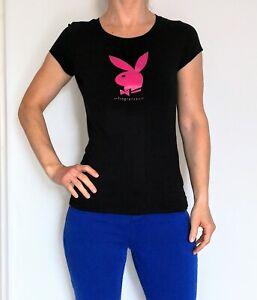 Womens Playboy Black T Shirt - Size 6/8