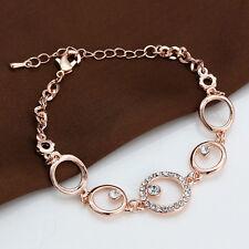 9k Gold Filled Women Zircon Sapphire Hoop Cuff Bangle Bracelet Wedding Jewelry