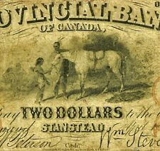 1856 Provincial Bank of Canada-Stanstead $2 two dollars=ten shillings #610-10-04