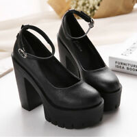Ladies Platform Chunky Heel Ankle Strap Pumps Shoes Party Leather Stilettos New