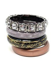 Unbranded Bangle Braclet Lot Of 4 Plastic Rhinestone Copper Silver Black Gold EU