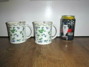 Pair Data Large Tea Coffee Mugs Bone China White w/ Forget Me Nots Drinking Mugs