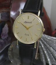 Ingersoll 9 CT Fecha Reloj De Oro Pulido Oro Sólido Nuevo Correa de trabajo del caso