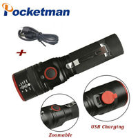 Powerful 50000LM T6 LED Flashlight Rechargeable Zoom 3 Modes Torch Light 18650