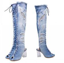 Women Crystal Block Heel Denim Open Toe Over The Knee High Boots Sandals 34/40 D