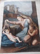 GRAVURE COULEUR ca 1820 LE SOMMEIL DE JESUS LC RUETTE  dessin et gravure