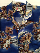 Men's Hilo Hattie Hawaiian   Size XL  Aloha Blue Brown Gray SS Shirt  Nice