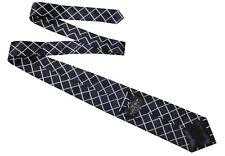 SAVILE ROW LONDON Classic Mens Blue White Geometric Pattern Silk Tie >