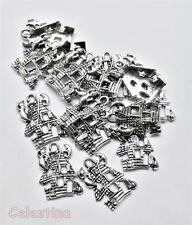 10 Tibetan Silver Haunted Spooky Ghost House Charms Halloween 20 x13mm